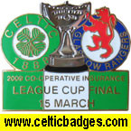 2009 Co-operative Cup Final Celtic v Rangers - badges numbered on rear