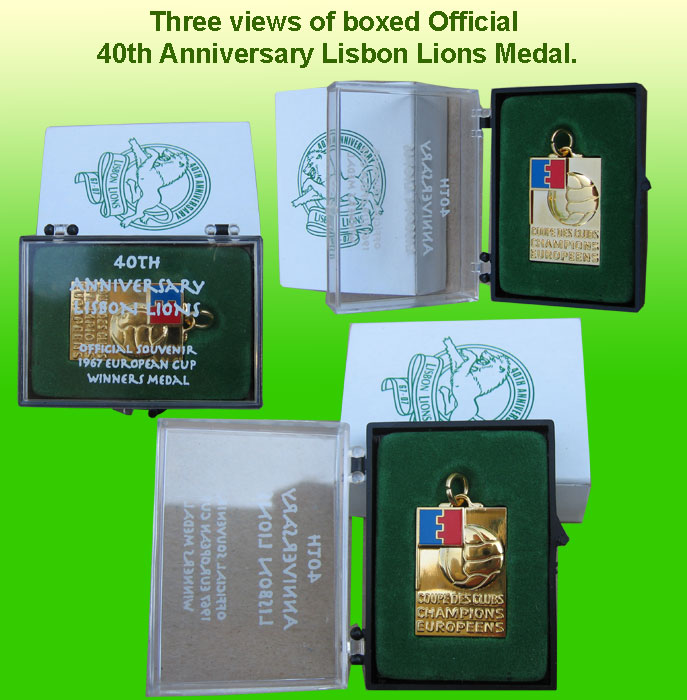 Official Boxed Replica Medal by The Lisbon Lions